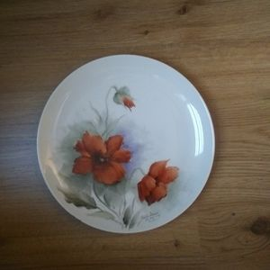 Hand painted floral art plate 9.5""